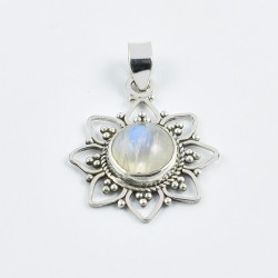 Blue Fire Rainbow Moonstone Pendants 925 Sterling Silver Pendants Oxidized Silver Jewellery Gift For Her