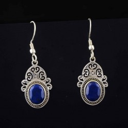 Blue Lapis Lazuli Drop Dangle Earrings 925 Sterling Silver Manufacture Silver Jewellery Exporters