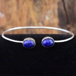 Blue Lapis Lazuli Gemstone Cuff Bangle 925 Sterling Silver Handmade Manufacture Silver Bangle Jewellery