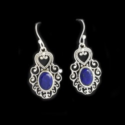 Blue Lapis Lazuli Gemstone Earring 925 Sterling Silver Oxidized 925 Stamped Silver Earring Jewelry Gift For Her