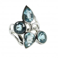 Blue Topaz Gemstone Ring Solid 925 Sterling Silver Ring Wholesale 925 Stamped Jewelry
