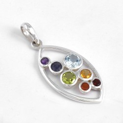 Chakra Pendants Solid 925 Sterling Solid Silver Multi Gemstone Pendants Religious Jewelry