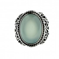 Chalcedony Ring Solid 925 Sterling Silver Ring Handmade Indian Artisan Ring 925 Stamped Jewelry