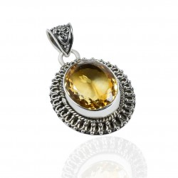 Citrine Gemstone Pendant Oxidized Vintage Pendant Handmade 925 Sterling Silver Pendant Birthstone Jewelry