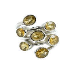 Citrine Gemstone Ring Solid 925 Sterling Silver Boho Ring Wholesale 925 Stamped Ring Jewellery