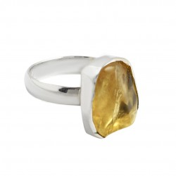 Citrine Rough Gemstone Ring 925 Sterling Silver Handmade Ring Manufacture Silver Bohemian Jewelry