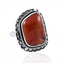Coral Gemstone Ring Handmade Solid 925 Sterling Silver Ring Boho Ring Birthstone Ring Jewelry