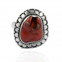 Coral Rough Gemstone Ring Solid 925 Sterling Silver Ring Boho Ring Jewelry Oxidized Ring Wholesale Silver Jewelry