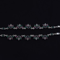 Cubic Zirconia Gemstone Anklets Handmade Solid 925 Sterling Silver Anklets Oxidized Silver Jewellery