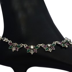 Cubic Zirconia Gemstone Anklets Solid 925 Sterling Silver Anklets 925 Stamped Jewellery