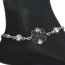 Cubic Zirconia Gemstone Solid 925 Sterling Silver Handmade Anklets Indian Women Fashion Jewelry