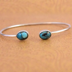 Cuff Bangle Turquoise Gemstone 925 Sterling Silver Handmade Women Fashion Bangle Jewellery