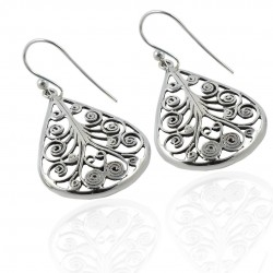 Drop Dangle Ear Wire Earring Solid 925 Sterling Plain Silver Handmade Earring Oxidized Silver Earring Jewelry