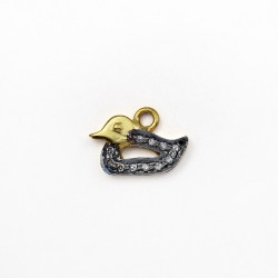 Duck Gold Plated Pave Diamond 925 Sterling Silver Charms Pendants Handmade Jewelry Gift For Her