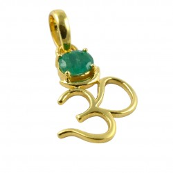 Emerald Gemstone Pendants 14k Carat Gold Pendants Indian Religious Special Occasion Jewelry