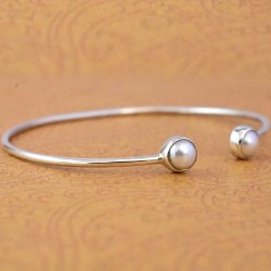 Freshwater Pearl Gemstone Cuff Bangle 925 Sterling Silver Wedding Gift Bangle 925 Stamped Silver Jewellery