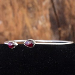 Garnet Gemstone Cuff Bangle Handmade Solid 925 Sterling Silver Manufacture Silver Jewelry