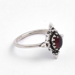 Garnet Ring Solid 925 Sterling Silver Handmade Silver Ring Jewelry Boho Ring Birthstone Ring Jewelry