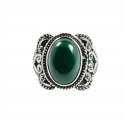 Green Malachite Ring Solid 925 Sterling Silver Boho Ring Oxidized Silver Ring Jewelry Gift For Her