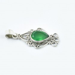 Green Onyx Gemstone Pendants Solid 925 Sterling Silver Handmade Pendants Jewelry Gift For Her