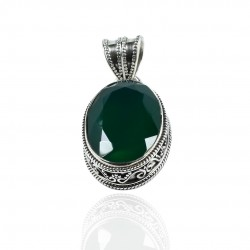 Green Onyx Oval Gemstone Pendant Solid 925 Sterling Silver Pendant Handmade Boho Jewelry Oxidized Silver Jewelry