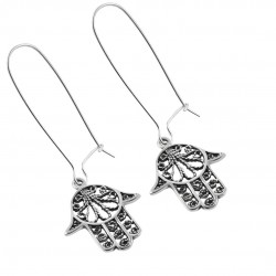 Hamsa Earring 925 Sterling Silver Earring Handmade Drop Dangle Earring 925 Stamped On Earring Jewellery