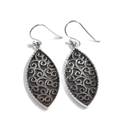Handmade 925 Sterling Silver Earrings Drop Dangle Earrings Marquise Shape Hook Earrings Gift For Her