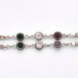 Handmade Solid 925 Sterling Silver Multi Cubic Zirconia Anklets Women Fashion Jewelry Gift For Her