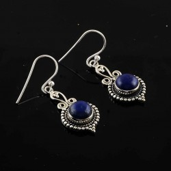 Lapis Lazuli 925 Sterling Silver Oxidized Earring Manufacture Silver Jewelry