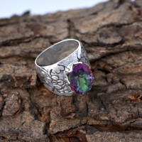 Magical Mystic Topaz Ring 925 Sterling Silver Handmade Boho Ring Wholesale Silver Jewelry