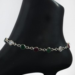 Multi Color Cubic Zirconia Anklets Solid 925 Sterling Silver Handmade Anklets Jewelry For Her