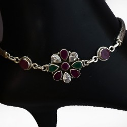 Multi Color Cubic Zirconia Gemstone Anklets Solid 925 Sterling Silver Handmade Silver Anklets Jewellery Gift For Her