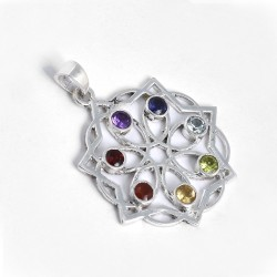 Multi Stone Chakra Pendants Solid 925 Sterling Silver Religious Pendants Handmade Silver Jewellery Gfit For Her