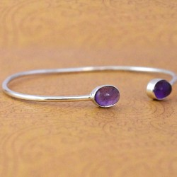 Natural Amethyst Gemstone Cuff Bangle 925 Sterling Silver Handmade 925 Stamped Bangle Jewellery