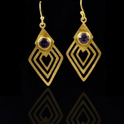 Natural Amethyst Gemstone Drop Dangle Earrings Gold Plated Handmade Jewelry 925 Sterling Silver Jewelry