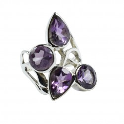 Natural Amethyst Gemstone Ring Solid 925 Sterling Silver Boho Ring Birthstone Ring Jewellery Gift For Her