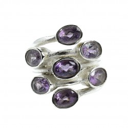 Natural Amethyst Gemstone Ring Solid 925 Sterling Silver Boho Ring Wholesale Silver Ring Jewelry Gift For Her