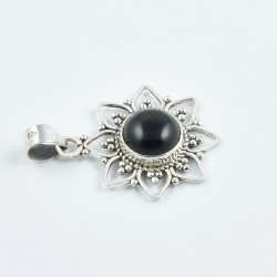 Natural Black Onyx Gemstone Pendants Solid 925 Sterling Silver Pendants Oxidized 925 Stamped Pendants Jewellery