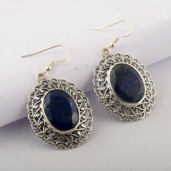 Natural Blue Lapis Lazuli Drop Danglers Earrings Solid 925 Sterling Silver Handmade Oxidized Silver Jewellery
