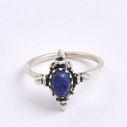 Natural Blue Lapis Lazuli Ring 925 Sterling Silver Handmade Silver Ring Boho Ring Jewelry