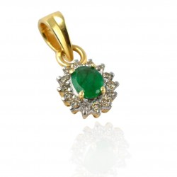 Natural Emerald Diamond Gemstone Pendants Handcrafted Jewelry 14k Carat Gold Jewelry