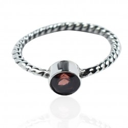 Natural Garnet Gemstone Band Ring Solid 925 Sterling Silver Handmade Women Ring Jewelry
