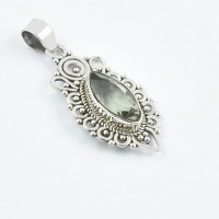 Natural Green Amethyst Gemstone Pendants 925 Sterling Silver Oxidized Pendants Jewelry