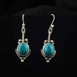 Natural Green Turquoise 925 Sterling Silver Danglers Earring Women Fashion Jewelry