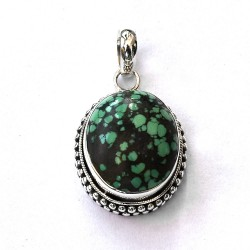 Natural Green Turquoise Pendant 925 Sterling Silver Pendant Women Handmade Silver Jewellery