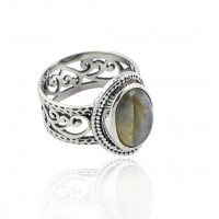 Natural Labradorite Gemstone Ring 925 Sterling Silver Wholesale Silver Ring Jewellery