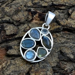 Natural Labradorite Pendants 925 Sterling Solid Silver Pendants Indian Handmade Silver Jewelry