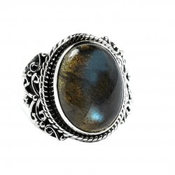 Natural Labradorite Ring Solid 925 Sterling Silver Handmade Oxidized Boho Ring Jewelry