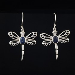 Natural Lapis Lazuli 925 Sterling Silver Butterfly Design Oxidized Silver Dangle Earring Jewelry
