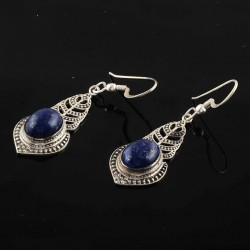 Natural Lapis Lazuli 925 Sterling Solid Silver Handmade Earring Jewelry